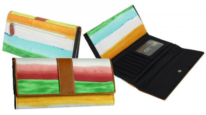 Ladies Striped Microfiber Fabric Wallets