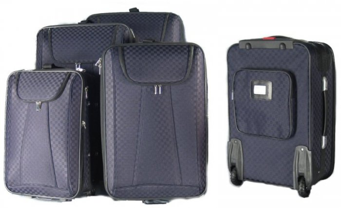 4 Piece Luggage Suitcase Set  (Black on Black Checker)