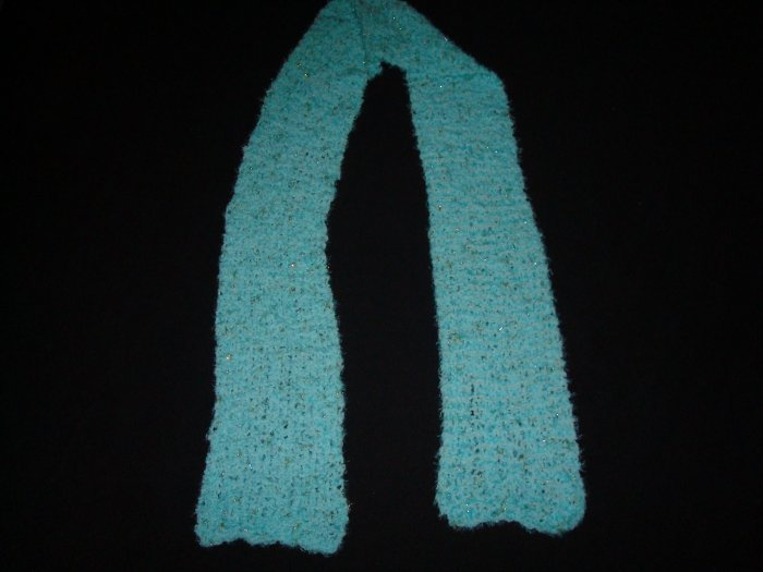 Blue Baby-Soft Scarf with Silver and Gold Sparkles