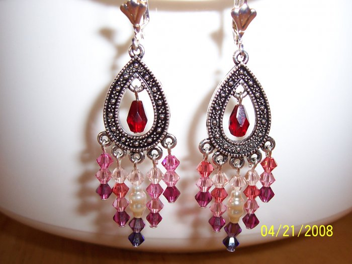 """In the Pink"" Swarovski crystal chandelier earrings"