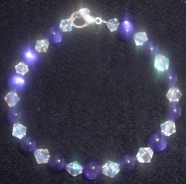 Purple Fire Polished Glass Bracelet