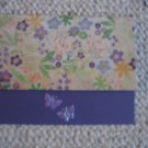 handmade purple flowers with butterflies 5 pack stationary cards