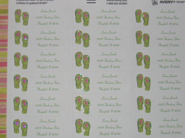 30  glittered flip flop address labels **ON SALE**