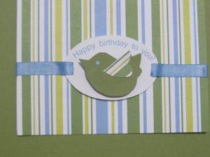 Handmade striped bird birthday card