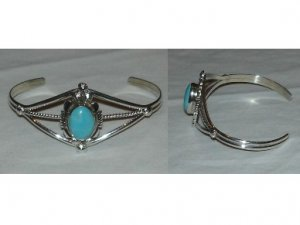 sterling silver bracelet with one natural turquoise stone