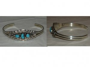 Handcrafted sterling silver bracelet with three natural turquoise stones