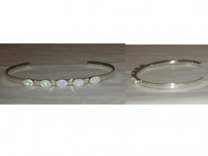 Cute sterling silver bracelet adorned with pretty opal