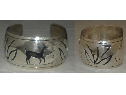 Cuff sterling silver bracelet with deer overlay
