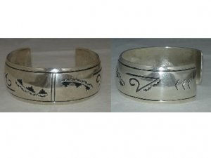 Native American outlay design on cuff bracelet made out of Sterling Silver