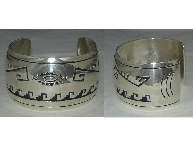 overlay art on HUGE cuff bracelet made out of sterling silver
