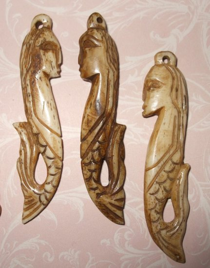 Carved Bone Mermaid Pendant