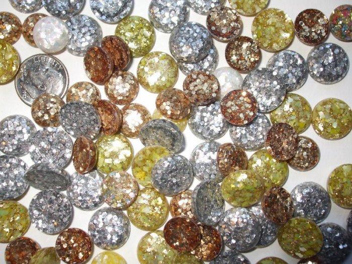 Vintage Silver Gold Multi Color Confetti button Cabochons