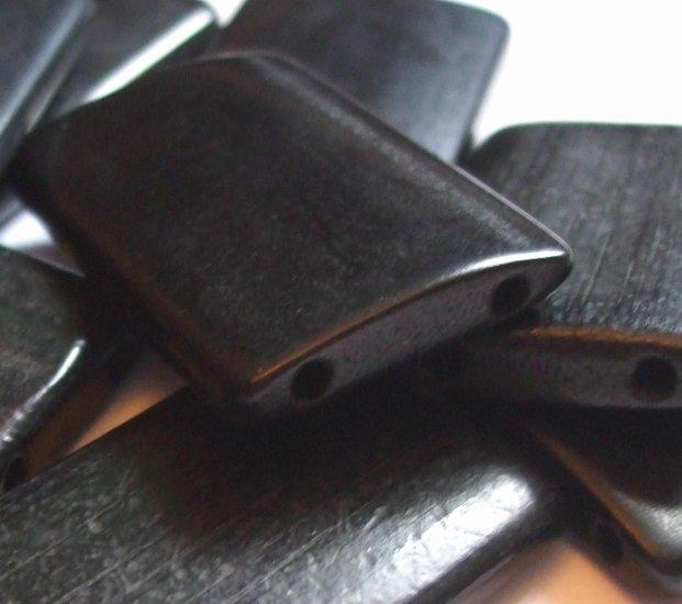 10 LARGE BLACK BAMBOO TILE BEADS DOMINOES ALTERED ART ASIAN