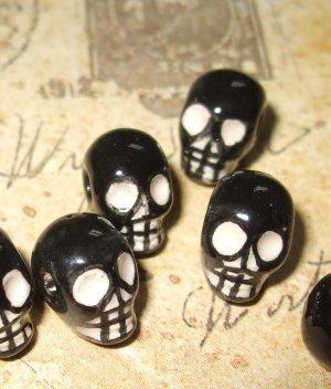 2 Tiny Black and White Ceramic Skull Beads 10mm X 8mm
