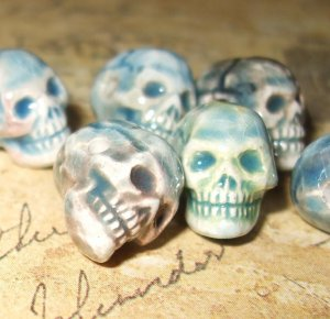 2 Tiny Raku Ceramic Skull Bead 11mm X 9mm