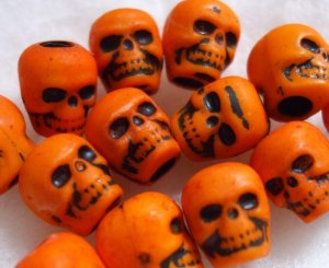 20 Pumpkin Orange DAy oF thE DeAd Skull Beads LOLITA