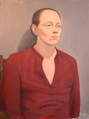 Original Oil Painting Portrait of Woman with Glasses Art by LJT