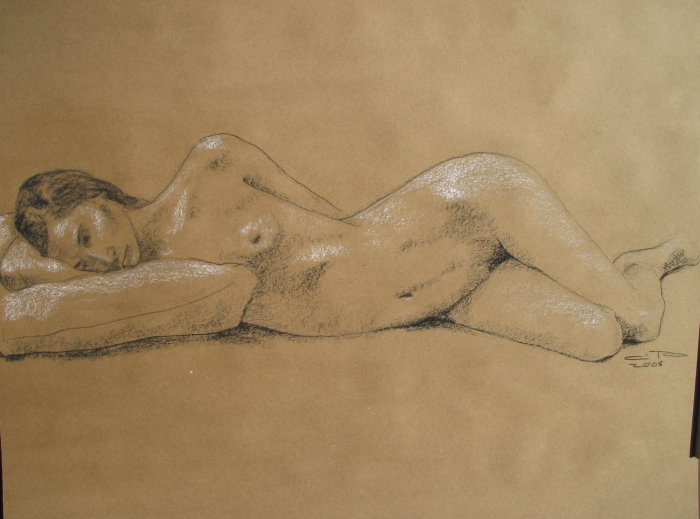 Original Black and White Conte Crayon Drawing Nude Reclining Female Art LJT