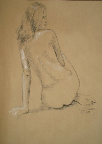 Original Black and White Conte Crayon Drawing Seated Nude Female on brown paper Art by LJT