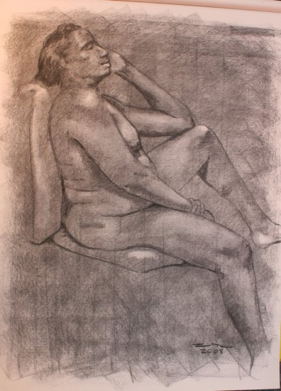 Original Charcoal Drawing Voluptuous Nude African American Woman Art by LJT