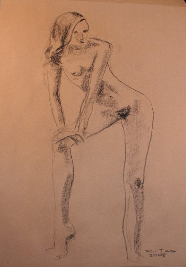 Abstract Original Conte Crayon Drawing Nude Female Abstract Art by LJT