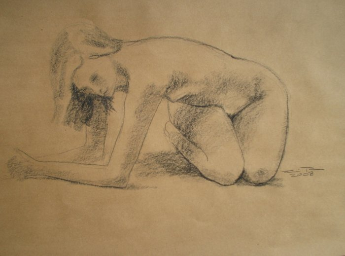 Original Conte Crayon Drawing Nude Female Twisting Abstract Art LJT