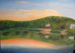 Original Oil Painting Landscape Herring Pond Art by LJT