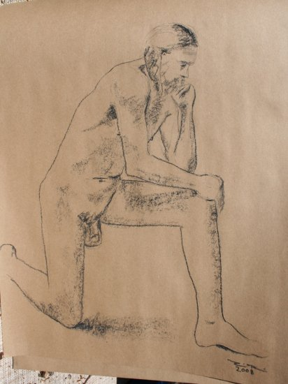 Original Conte Crayon Drawing Nude Kneeling Male Art by LJT