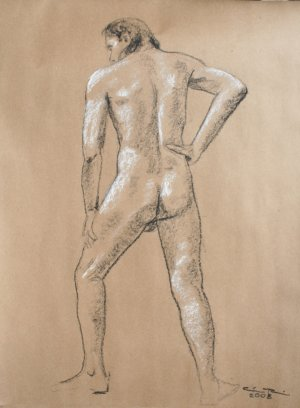 Original black and white conte crayon life drawing Standing male art by LJT
