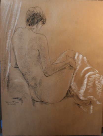 Original Conte Chalk Drawing Nude Female with Drape Art by LJT