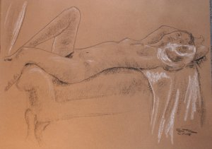 Reclining Nude Drawing Female Black and White Conte Chalk Art by LJT