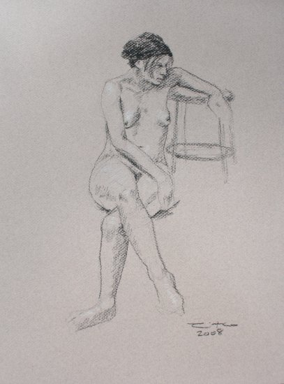 Original Black and White conte crayon drawing Seated Nude Female on toned paper Art by LJT