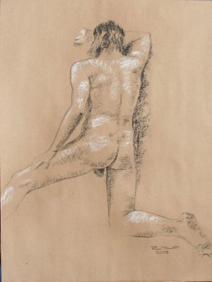 Original black and white conte crayon life drawing Rear View male art by LJT