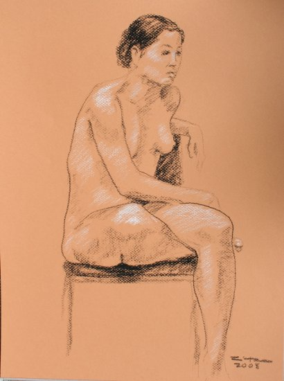 Original Black and White conte crayon drawing Seated Nude Female on melon toned paper Art by LJT