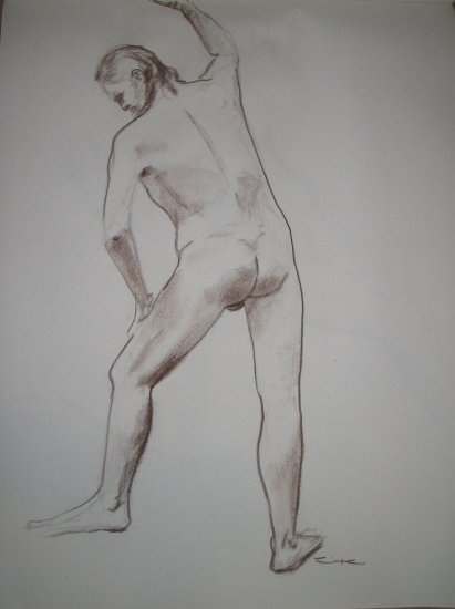 Original Brown Conte Crayon Drawing Muscular Nude Male Standing Arm Raised Art by LJT