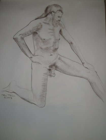 Original Brown Conte Crayon Drawing Nude Bearded Male Kneeling Art by LJT