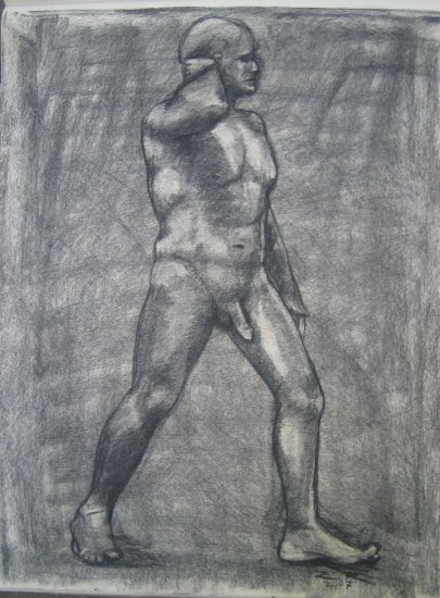 Original Charcoal Drawing Muscular Nude Male Standing Arm Raised Art by LJT