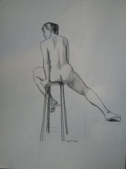 Original Charcoal Drawing Seated Female Nude Rear View Art by LJT