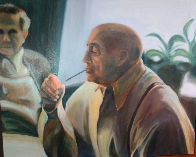 Original Oil Painting Portrait of Old Man Lighting Cigarette Art by LJT