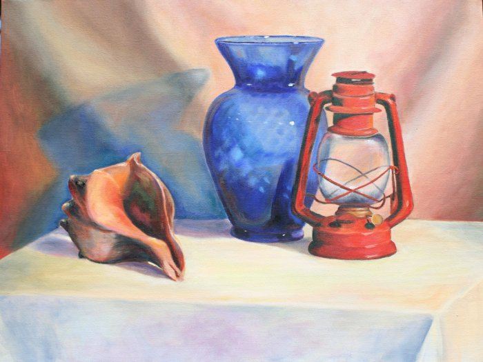 Original Oil Painting Still Life Blue Glass Vase Lantern Shell Stretched Canvas Art by LJT