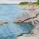 Original Oil Landscape Painting Rocky Shore Water Art by LJT