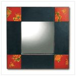 Asian Black and Red Painted Mirror