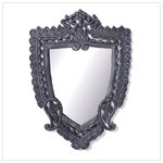 Wood Carved Shield Wall Mirror