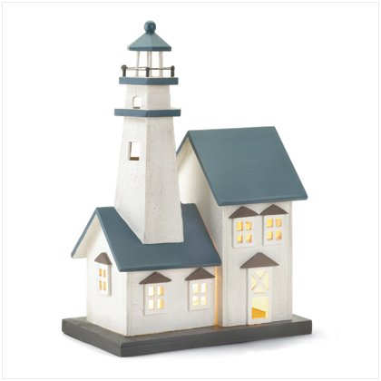Wood Lighthouse Table Top Night Light