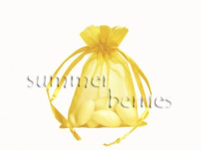Organza Sachet Favor Bag / Bags - 2.75x4.5 Yellow (Set of 10)