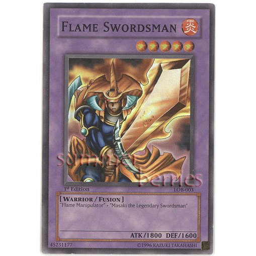 YuGiOh Card LOB-003 1st Edition - Flame Swordsman [Super Rare Holo]