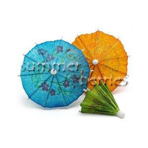 Mini Cocktail Parasol Drink Umbrella - Green (Set of 10)