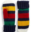 HBC Hudson's Bay Company Collection Knit Mittens - Navy Multi-Coloured Stripe - Adults' L/XL