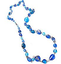 LONG TURQUOISE & BLUES GLASS BEAD NECKLACE - free shipping