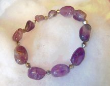 BEAUTIFUL GENUINE AMETHYST BEAD BRACELET - free shipping